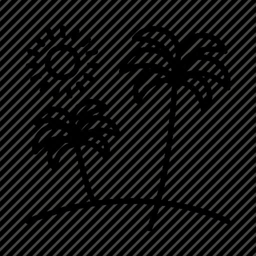 beach, holiday, palm tree, seashore, seaside, summer, vacation icon