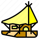house, float, bungalow, waterhouse, line, accommodation