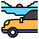 beach, car, driving, holiday, nature, road, trip icon