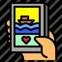 beach, island, nature, phone, sea, smart, social icon