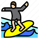 beach, man, nature, sea, sport, surfing, workout icon