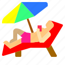 beach, chair, holiday, island, nature, sea, umbrella icon