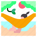 beach, bed, hammock, sunrise, sunset icon