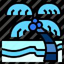 beach, coconut, island, nature, plam, sea, tree icon