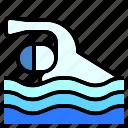 beach, island, man, nature, sea, sport, swimming icon