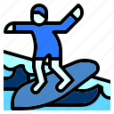 beach, man, nature, sea, sport, surfing, workout icon