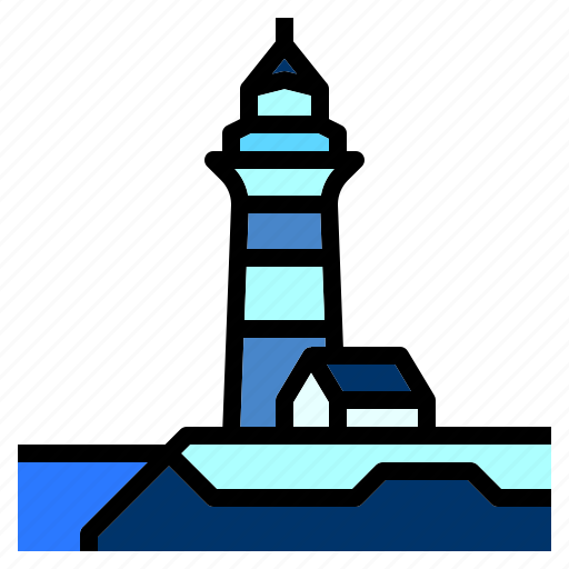 cliff, guide, house, light, lighthouse, ocean icon