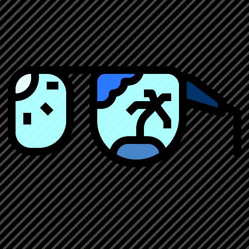 beach, coconut, island, sun, sunglasses, tree icon