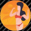 beach, beach girl, beach lady, party girl, women enjoying icon