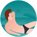 beach, beach man, sunbathe, sunbathing, suntanning icon