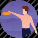 beach activity, beach frisbee, beach game, frisbee, outdoor sports icon