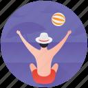 beach activity, beach ball, beach fun, beaching, vacation icon