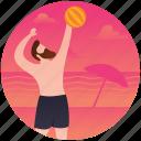 beach, beach ball, beach game, beach person, volleyball icon