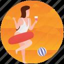 beach fun, beach girl, beach party, leisure time, vacation icon