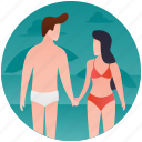 beach couple, beach romance, couple, couple vacation, honeymoon icon