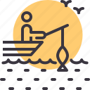 beach, fishing, holiday, vacation icon