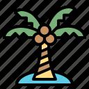 beach, coconut, nature, tree, tropical icon