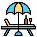 chair, deck, seat, summer, summertime icon