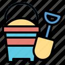 bucket, childhood, kid, sand, toy