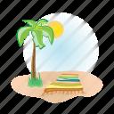 towel, sun, tree, vacation, palm, beach