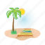 beach, palm, sun, towel, tree, vacation icon