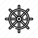 boat, cruise, sea, ship, steering, wheel, yacht icon