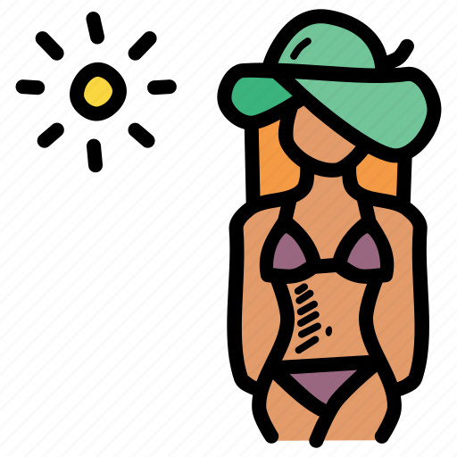 beach, bikini, sexy, summer icon