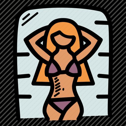 beach, bikini, sunbathing, vacation icon
