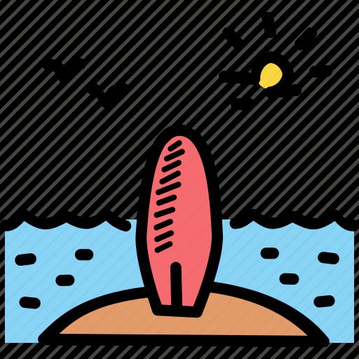 beach, surf, surfboard, surfing icon