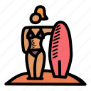 beach, bikini, holiday, surfing icon