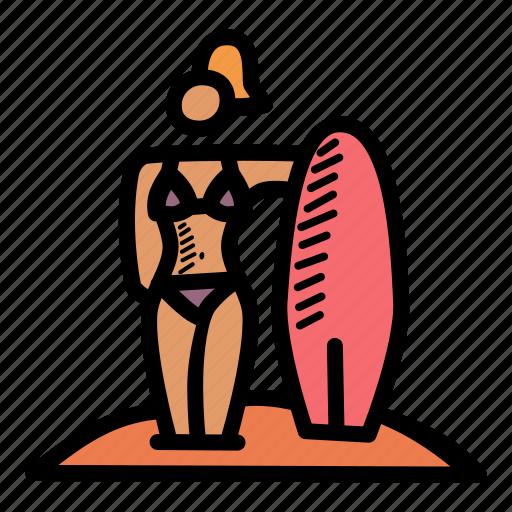 beach, bikini, holiday, surfing icon