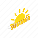 cooling, heat, isometric, summer, sun, sunlight, sweet icon