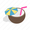 cocktail, coconut, drink, fruit, isometric, tropical, umbrella icon