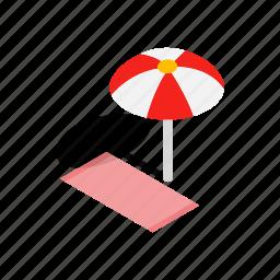 beach, comfort, isometric, leisure, summer, towel, umbrella icon