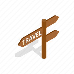 arrow, choice, direction, isometric, road, travel, travelers icon