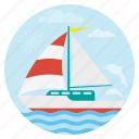 beach, boating, holiday, sail boat, summer, travel, vacation icon