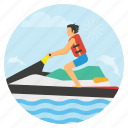 beach fun, boating, jet, sea, summer, travel, vacation icon