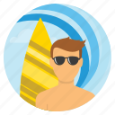 beach, beachboy, happy, holidays, sailboating, surfing, travel icon
