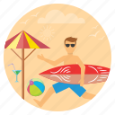 beach, beachfun, ocean, surfing, travel, waves icon