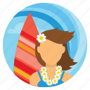 beach, beachgirl, holiday, summer, surfing, travel, vacations icon