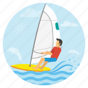 beach, holidays, sailboading, sea, surfing, travel, vacations icon