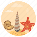 beach, ocean, sea, seafood, starfish, travel, vacation icon
