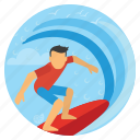beach, sports, summer, surfing, surfing board, travel, vacation icon