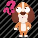 beagle, emoji, emoticon, question, smiley, sticker, wonder icon