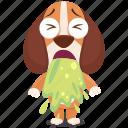 beagle, emoji, emoticon, sick, smiley, sticker