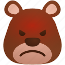 angry, bear, emoji, emoticon, face, feeling, zoo icon