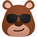 bear, cool, emoticon, emotion, feeling, smile icon