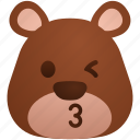 bear, emoji, eyes, kissing, panda, teddy, wink icon