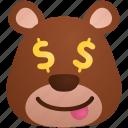 bear, business, dollar, emoji, money icon