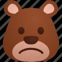 avatar, bear, emoji, emoticon, expression, face, sad icon